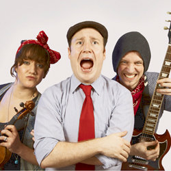 Jonny & the Baptists. Image shows from L to R: Amy Butterworth, Jonny Donahoe, Paddy Gervers.