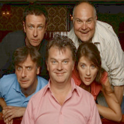 Paul Merton's Impro Chums. Image shows from L to R: Richard Vranch, Lee Simpson, Paul Merton, Mike McShane, Suki Webster.