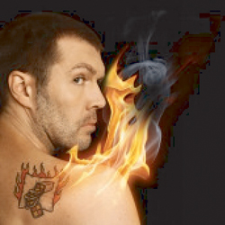 Rhod Gilbert: The Man with the Flaming Battenberg Tattoo. Rhod Gilbert. Copyright: BBC.