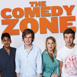 The Comedy Zone. Image shows from L to R: Ahir Shah, Kieran Boyd, Hayley Ellis, Mark Smith. Copyright: BBC.