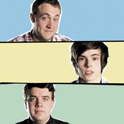 AAA Stand-Up. Image shows from L to R: Tom Toal, Rhys James, Joe Wells. Copyright: Celador Productions.