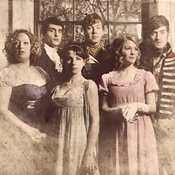Austentatious: An Improvised Jane Austen Novel. Image shows from L to R: Amy Cooke-Hodgson, Graham Dickson, Cariad Lloyd, Andrew Hunter Murray, Rachel Parris, Joseph Morpurgo.