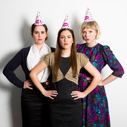 Birthday Girls: 2053. Image shows from L to R: Camille Ucan, Rose Johnson, Beattie Edmondson.