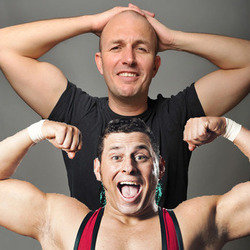Brendon Burns and Colt Cabana Sit in a Fifty-Seater Around Midnight and Provide the Commentary to Bad Wrestling Matches. Image shows from L to R: Brendon Burns, Colt Cabana.