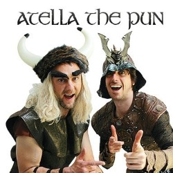 Atella the Pun. Image shows from L to R: Leo Kearse, Darren Walsh. Copyright: Brown Eyed Boy / Kudos Productions.