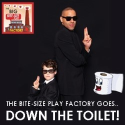 The Big Bite-Size Plays Factory Goes Down the Toilet. Copyright: ABC Television.