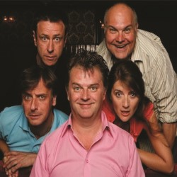 Paul Merton's Impro Chums. Image shows from L to R: Richard Vranch, Lee Simpson, Paul Merton, Mike McShane, Suki Webster. Copyright: Holy Mountain.