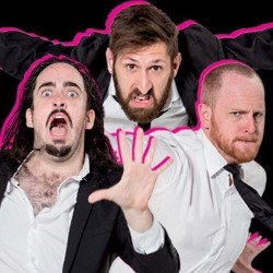 Aunty Donna. Image shows from L to R: Zachary Ruane, Mark Bonanno, Broden Kelly. Copyright: Channel X.