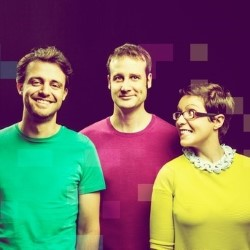 Festival of the Spoken Nerd: Just for Graphs. Image shows from L to R: Steve Mould, Matt Parker, Helen Arney. Copyright: The Comedy Unit.