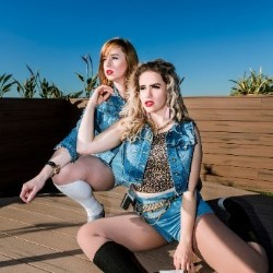 Double Denim. Image shows from L to R: Laura Frew, Michelle Brasier.