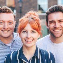 My Dad Wrote a Porno: Live. Image shows from L to R: Jamie Morton, Alice Levine, James Cooper.