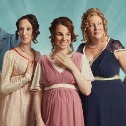 Austentatious. Image shows from L to R: Charlotte Gittins, Cariad Lloyd, Amy Cooke-Hodgson.