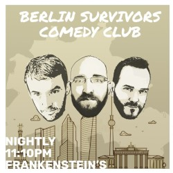 Berlin Survivors' Comedy Club. Image shows from L to R: Shawn Jay, Ori Halevy, Francesco Kirchhoff.