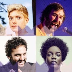 Show And Tell at The Queen's Hall. Image shows from L to R: Mae Martin, David O'Doherty, Nish Kumar, Lolly Adefope.