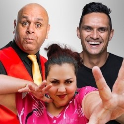 Aboriginal Comedy Allstars. Image shows from L to R: Stephanie Tisdell, Kevin Kropinyeri, Andy Saunders.