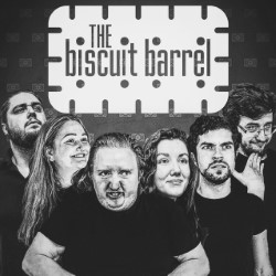 Biscuit Barrel: Double Stuffed. Image shows from L to R: Thomas House, Capriella Hooper, Alex Denley Spencer, Zoë Quilter, James Horscroft, Daryl Reader.