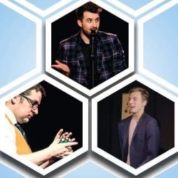The Magician, the Mind Reader and the Nerd. Image shows from L to R: Tom Crosbie, Elliot Bibby, Tomas McCabe.
