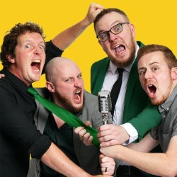 The Noise Next Door's Comedy Lock-In. Image shows from L to R: Matt Grant, Sam Pacelli, Tom Livingstone, Robin Hatcher.