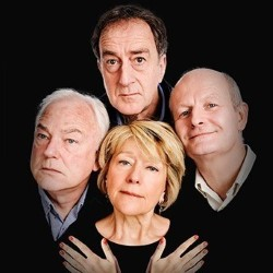 Radio Active: The 40th Anniversary Show. Image shows from L to R: Michael Fenton Stevens, Angus Deayton, Helen Atkinson-Wood, Philip Pope.