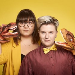 Secret Dinosaur Cult Live. Image shows from L to R: Sofie Hagen, Jodie Mitchell.