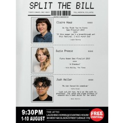 Split The Bill - Claire Haus, Suzie Preece and Josh Weller. Image shows from L to R: Suzie Preece, Claire Haus, Josh Weller.