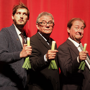 The Goon Show 2018 tour - Spike Milligan, Peter Sellers, Harry Secombe. Image shows from L to R: Colin Elmer, Julian Howard, Clive Greenwood.