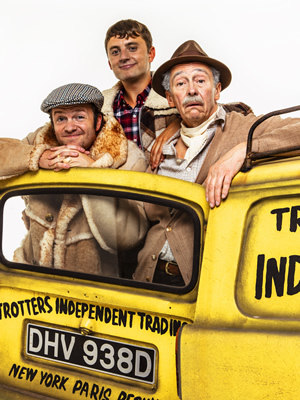 Only Fools And Horses - The Musical. Image shows from L to R: Tom Bennett, Ryan Hutton, Paul Whitehouse.