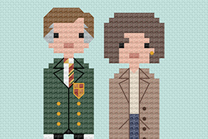 Comedy characters in cross stitch