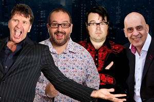 Image shows from L to R: Stewart Francis, Justin Moorhouse, Jarred Christmas, Mike Gunn.