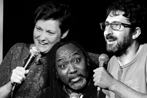 Audible Presents: Live At The Edinburgh Fringe. Image shows from L to R: Josie Long, Reginald D. Hunter, Mark Watson. Copyright: Audible.com.