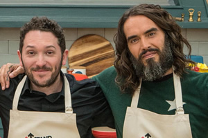 The Great Celebrity Bake Off for Stand Up to Cancer 2019. Image shows from L to R: Jon Richardson, Russell Brand. Copyright: Channel 4 Television Corporation.