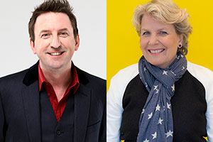 Image shows from L to R: Lee Mack, Sandi Toksvig.