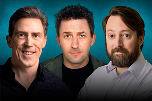 Brydon, Mack & Mitchell - In Your Town. Image shows from L to R: Rob Brydon, Lee Mack, David Mitchell.