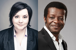 Image shows from L to R: Susan Calman, Stephen K Amos.