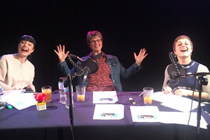 DesignSpark podcast. Image shows from L to R: Bec Hill, Lucy Rogers, Harriet Braine.