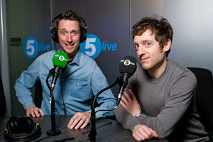 Image shows from L to R: John Robins, Elis James. Copyright: BBC.
