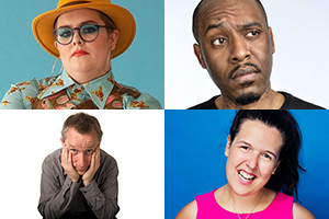 Image shows from L to R: Jayde Adams, Jeremy Hardy, Dane Baptiste, Rosie Jones.