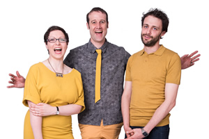 Festival Of The Spoken Nerd. Image shows from L to R: Helen Arney, Matt Parker, Steve Mould. Copyright: Rosemary Rance.