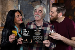 Whyte & Mackay Glasgow International Comedy Festival 2018 launch. Image shows from L to R: Julia Sutherland, Michael Redmond, Chris Forbes. Copyright: Steve Ullathorne.