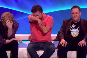 The Last Leg. Image shows from L to R: Josh Widdicombe, Alex Brooker, Johnny Vegas. Copyright: Open Mike Productions.