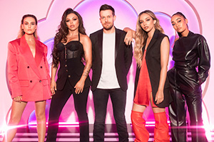 Little Mix The Search. Image shows from L to R: Jade Thirlwall, Jesy Nelson, Chris Ramsey, Perrie Edwards, Leigh-Anne Pinnock.