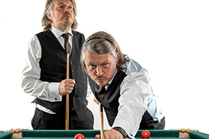 Me1 versus Me2 Snooker with Richard Herring. Richard Herring. Copyright: Steve Brown.