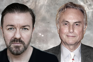 Image shows from L to R: Ricky Gervais, Richard Dawkins.