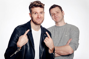 Image shows from L to R: Joel Dommett, Steve Dunne.