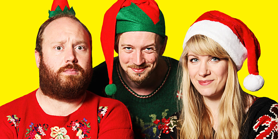 Thirty Christmases. Image shows from L to R: Jonny Donahoe, Paddy Gervers, Rachel Parris. Copyright: Anna Soderblom.