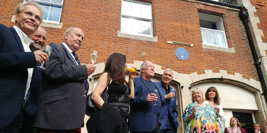 'Allo 'Allo! blue plaque unveiling. Image shows from L to R: Richard Gibson, Nicholas Frankau, John D. Collins, Francesca Gonshaw, Guy Siner, Arthur Bostrom, Sue Hodge, Vicki Michelle.
