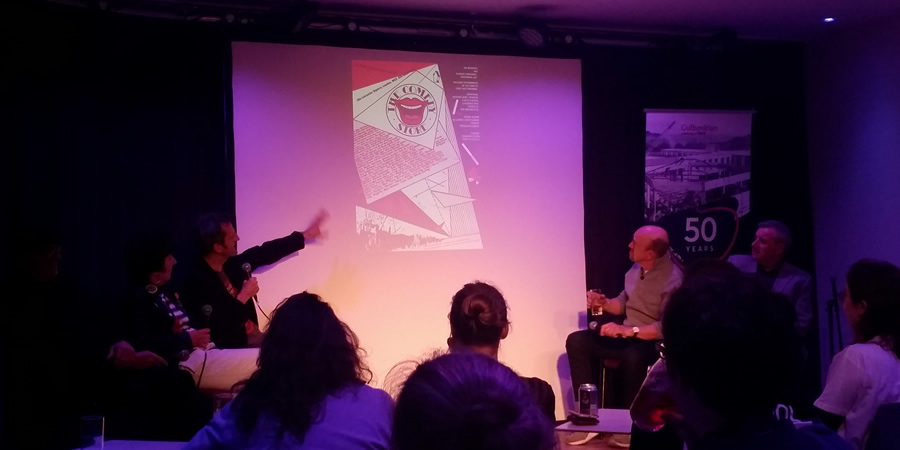 Alternative Comedy Now discussion. Image shows from L to R: Pauline Melville, Oliver Double, Andy De la Tour, Jim Barclay. Copyright: Sarah Slack.