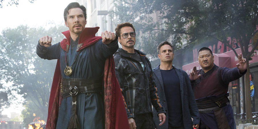 Avengers: Infinity War. Image shows from L to R: Benedict Cumberbatch, Robert Downey Jr., Mark Ruffalo, Benedict Wong.