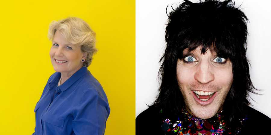 Image shows from L to R: Sandi Toksvig, Noel Fielding.