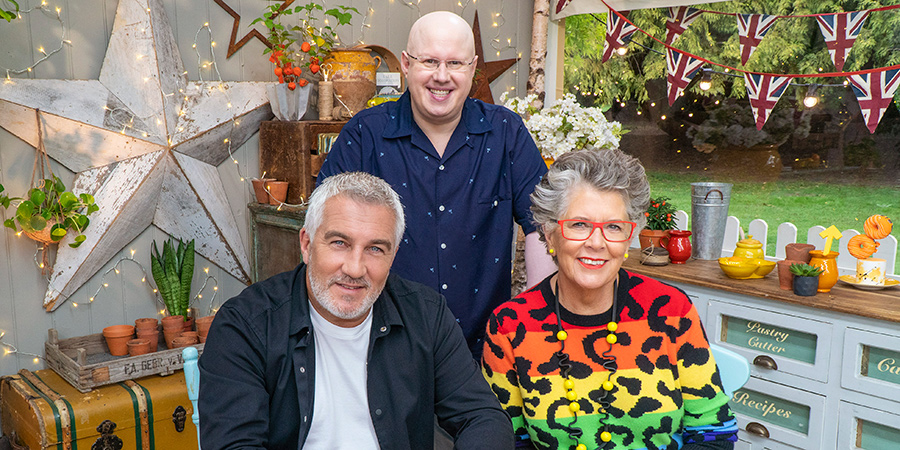 Bake Off. Image shows from L to R: Paul Hollywood, Matt Lucas, Prue Leith.